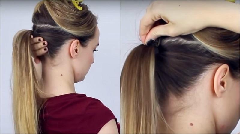 Как сделать хвост с объёмом на макушке