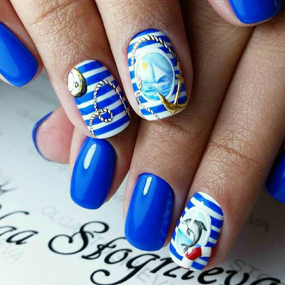 Дизайн ногтей 2017-2018 в морском стиле